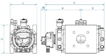 Чертёж счетчиков роторного типа DELTA серий 2050, 2080, 2100 DN50 / DN80 / DN100