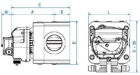 чертёж счетчика газа роторного типа DELTA Compact DN40